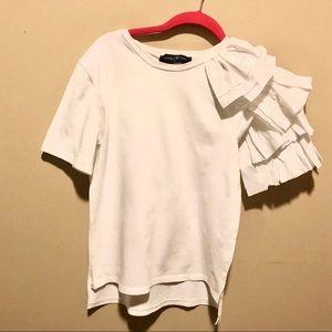 AKIRA Chicago Black Label White Ruffle T-Shirt